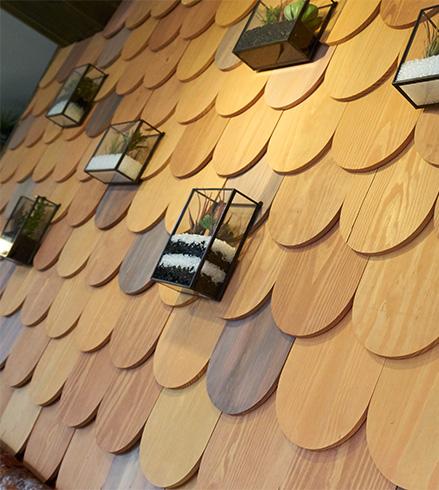 bar design, Lincolnshire, wall detail